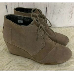 Toms Taupe Suede Desert Wedge Ankle Booties 10